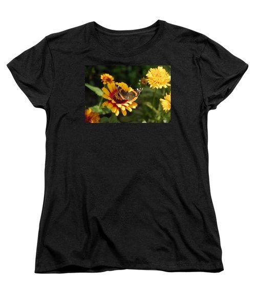 Butterfly On Flower Women's T-Shirt (Standard Cut) by Charles Beeler