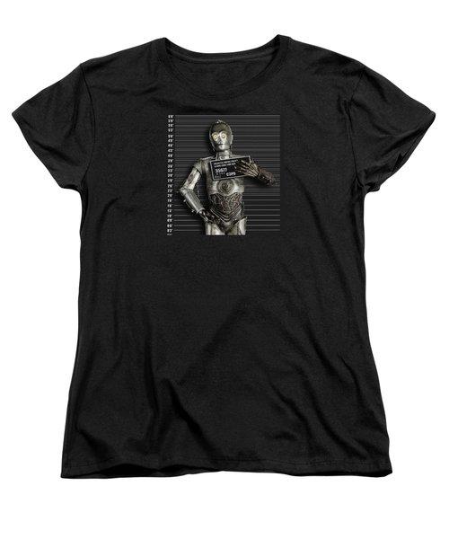 C-3po Mug Shot Women's T-Shirt (Standard Cut) by Tony Rubino