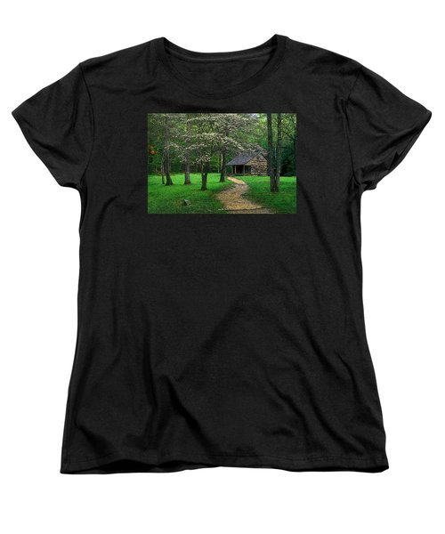 Women's T-Shirt (Standard Cut) featuring the photograph Cabin In Cades Cove by Rodney Lee Williams