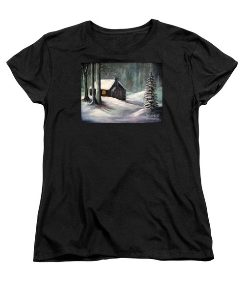Women's T-Shirt (Standard Cut) featuring the painting Cabin In The Woods by Hazel Holland