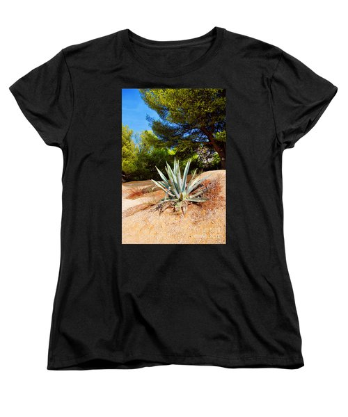 Women's T-Shirt (Standard Cut) featuring the photograph Cactus On A Rocky Coast Of French Riviera by Maja Sokolowska