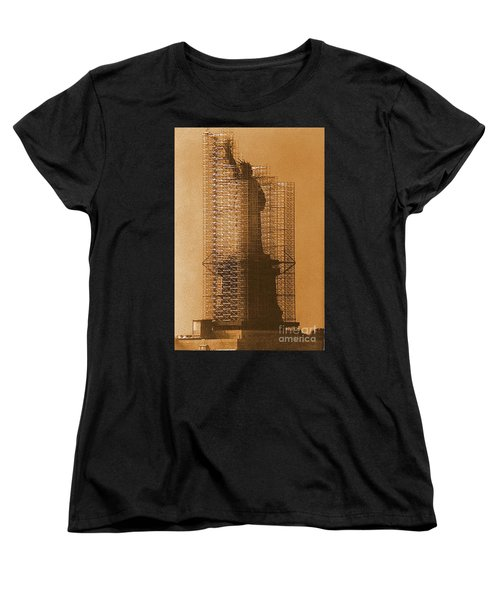 Women's T-Shirt (Standard Cut) featuring the photograph Lady Liberty Statue Of Liberty Caged Freedom by Michael Hoard