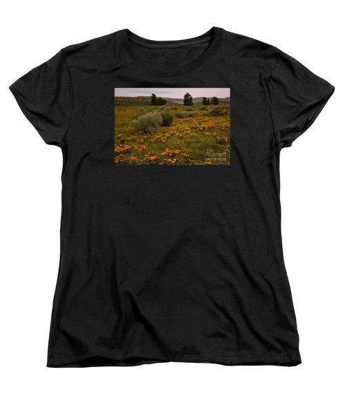 California Poppies In The Antelope Valley Women's T-Shirt (Standard Cut) by Nina Prommer