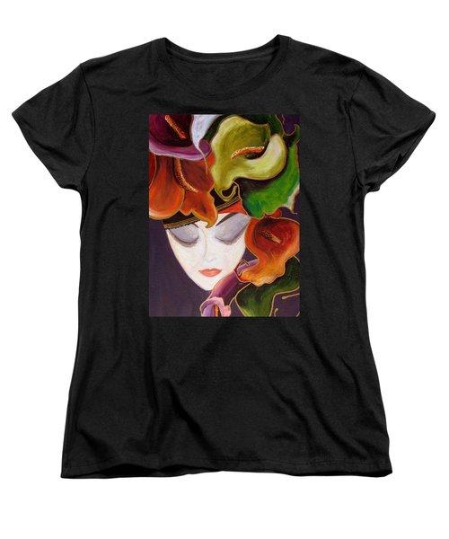 Women's T-Shirt (Standard Cut) featuring the painting Calla Lily Dame.. by Jolanta Anna Karolska