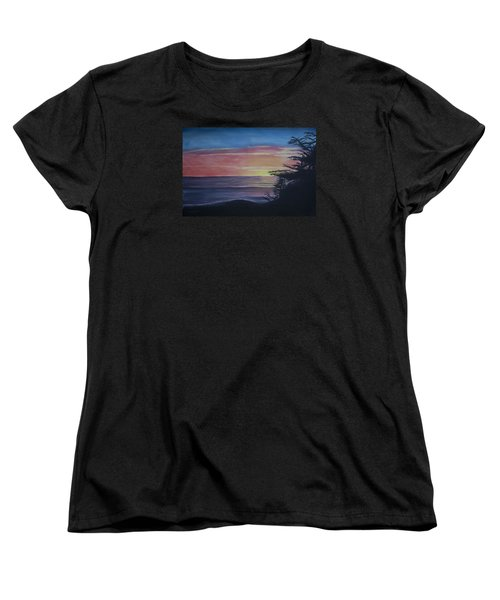 Women's T-Shirt (Standard Cut) featuring the painting Cambria Setting Sun by Ian Donley