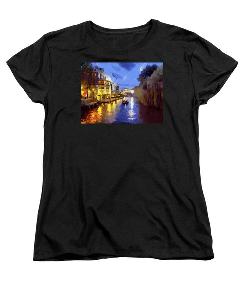 Women's T-Shirt (Standard Cut) featuring the painting Water Canals Of Amsterdam by Georgi Dimitrov