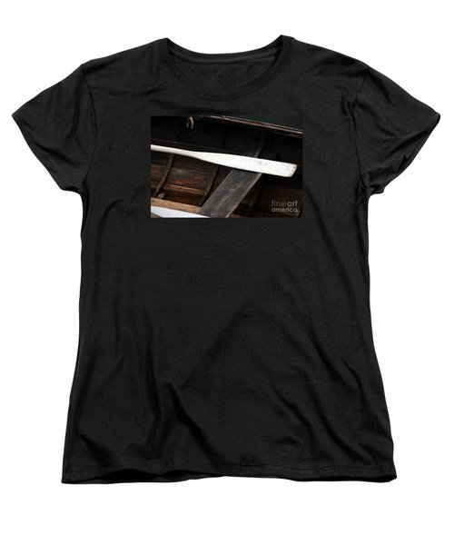 Women's T-Shirt (Standard Cut) featuring the photograph Canoe And Oar by Mary Carol Story