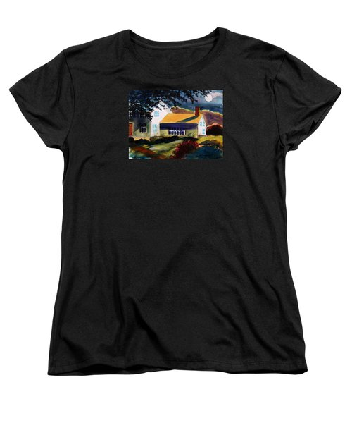 Women's T-Shirt (Standard Cut) featuring the painting Cape Cod Moon by John Williams
