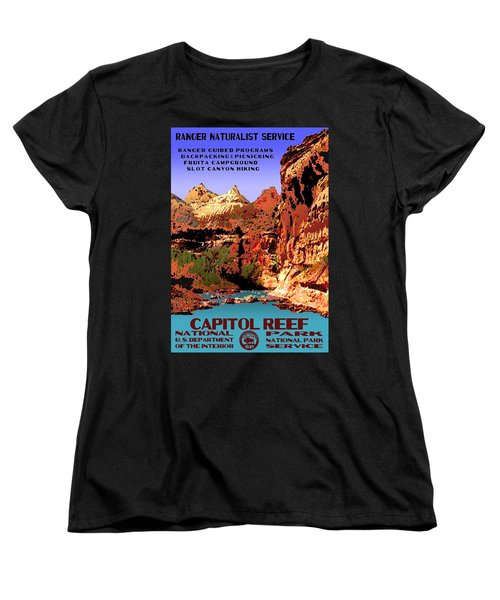 Capitol Reef National Park Vintage Poster Women's T-Shirt (Standard Cut) by Eric Glaser