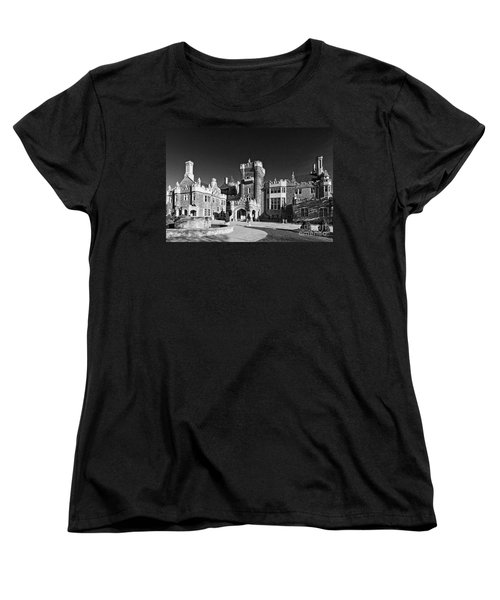 Casa Loma In Toronto In Black And White Women's T-Shirt (Standard Cut) by Les Palenik