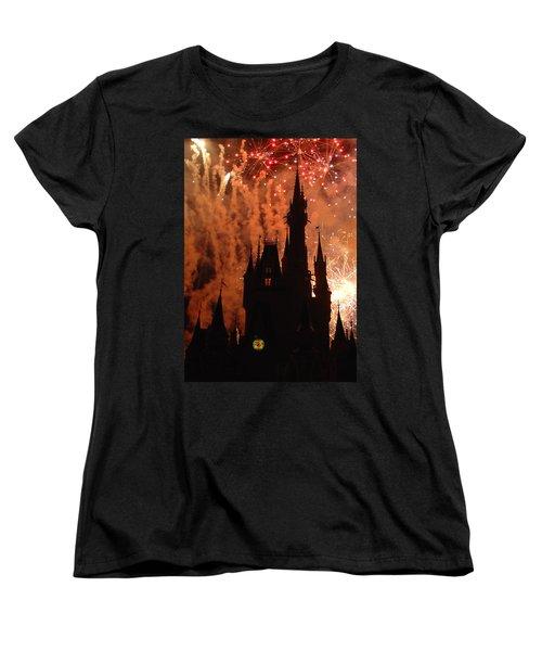 Women's T-Shirt (Standard Cut) featuring the photograph Castle Fire Show by David Nicholls