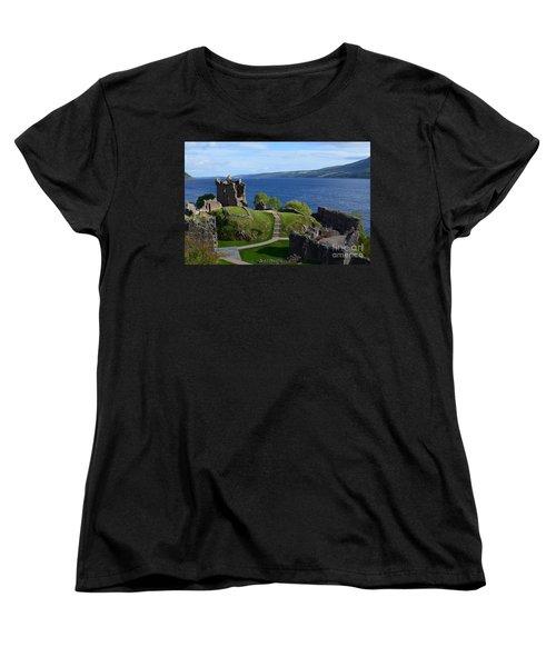 Castle Ruins On Loch Ness Women's T-Shirt (Standard Cut) by DejaVu Designs