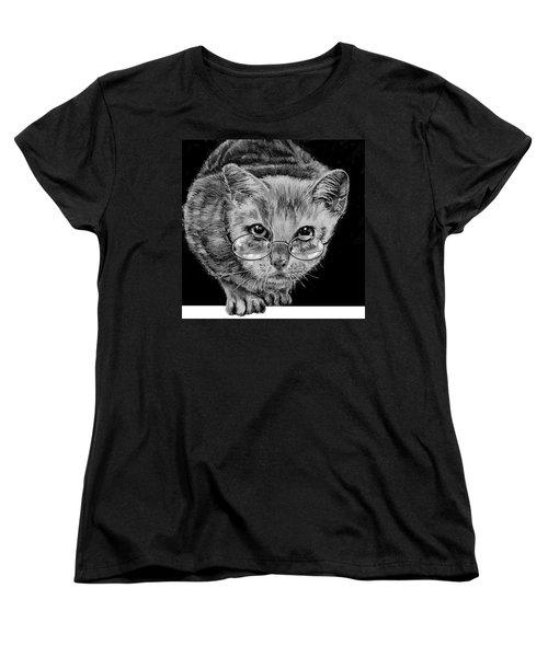 Cat In Glasses  Women's T-Shirt (Standard Cut) by Jean Cormier
