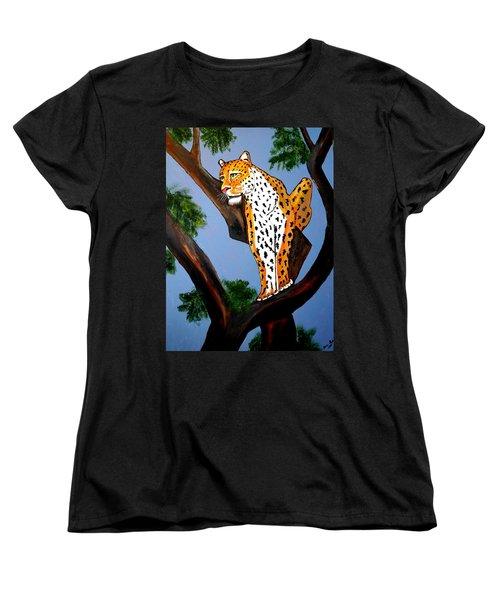 Cat On A Hot Wood Tree Women's T-Shirt (Standard Cut) by Nora Shepley
