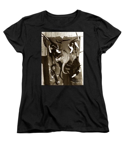 Women's T-Shirt (Standard Cut) featuring the photograph Cat Tails By Henry King Nourse Circa 1900 Historical Photos by California Views Mr Pat Hathaway Archives