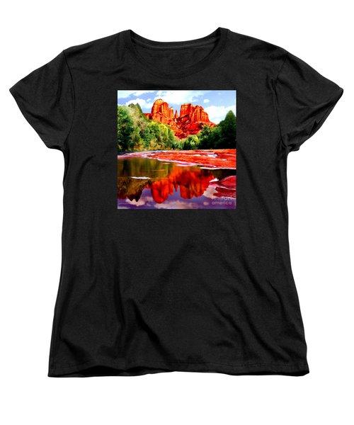 Cathedral Rock Sedona Arizona Women's T-Shirt (Standard Cut) by Bob and Nadine Johnston