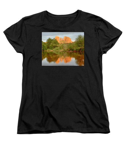 Women's T-Shirt (Standard Cut) featuring the photograph Cathedral Rocks Reflection by Alan Vance Ley