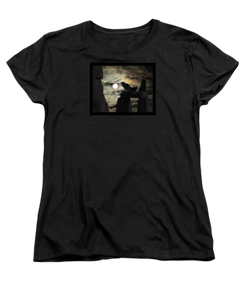 Women's T-Shirt (Standard Cut) featuring the photograph Celtic Nights Selective Coloring by I'ina Van Lawick