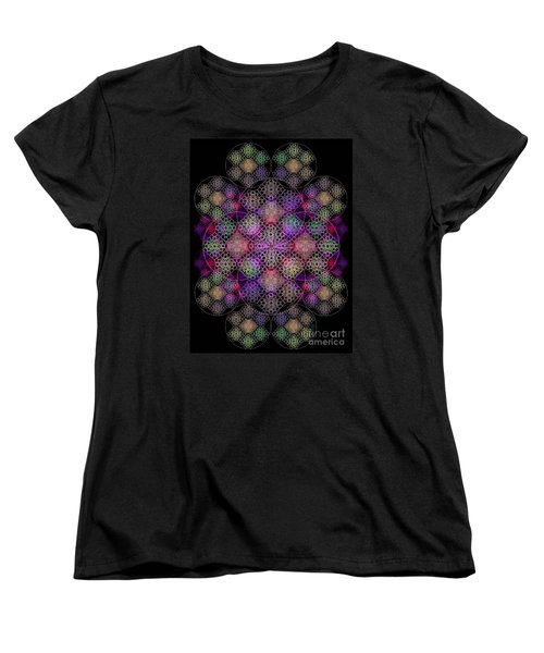 Women's T-Shirt (Standard Cut) featuring the digital art Chalice Cell Rings On Black Dk29 by Christopher Pringer