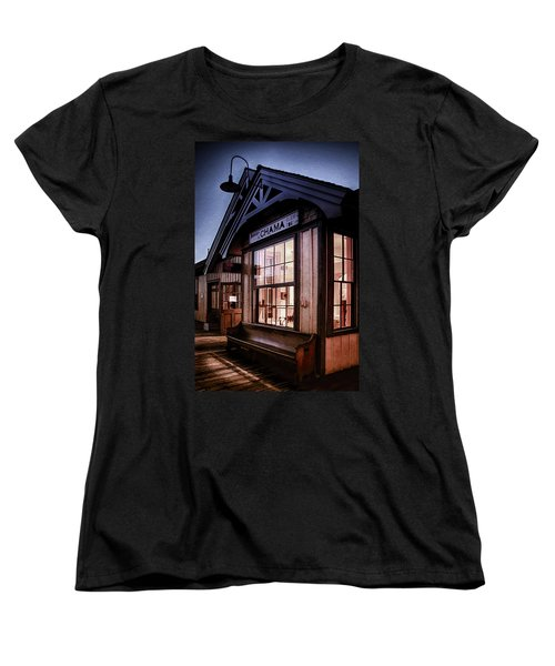 Women's T-Shirt (Standard Cut) featuring the photograph Chama Train Station by Priscilla Burgers