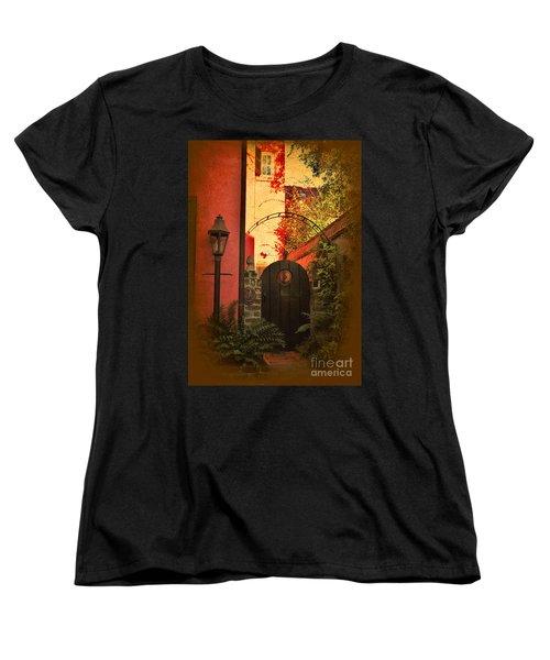Women's T-Shirt (Standard Cut) featuring the photograph Charleston Garden Entrance by Kathy Baccari