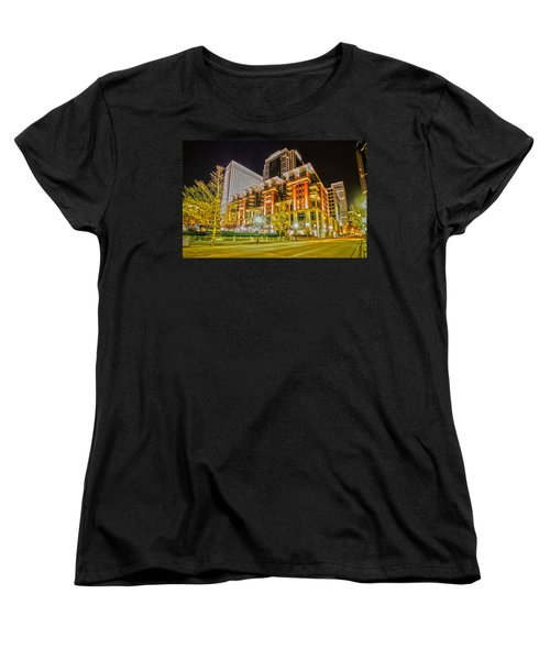 Charlotte City Skyline Night Scene Women's T-Shirt (Standard Cut) by Alex Grichenko