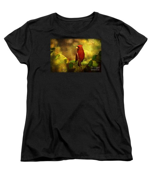 Cheery Red Cardinal  Women's T-Shirt (Standard Cut) by Lianne Schneider
