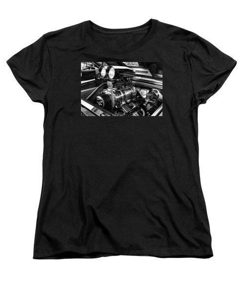 Chevy Supercharger Motor Black And White Women's T-Shirt (Standard Cut) by Jonathan Davison