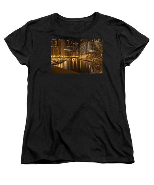 Chicago At Night Women's T-Shirt (Standard Cut) by Daniel Sheldon