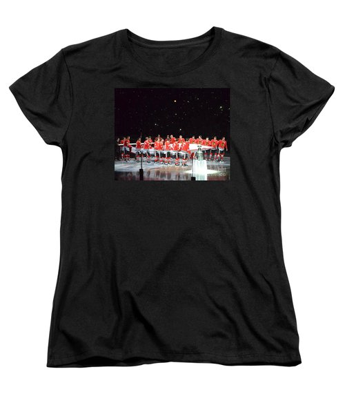 Chicago Blackhawks And The Banner Women's T-Shirt (Standard Cut) by Melissa Goodrich