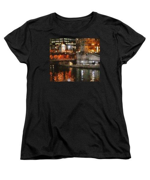 Chicago River At Michigan Avenue Women's T-Shirt (Standard Cut) by Jeff Kolker
