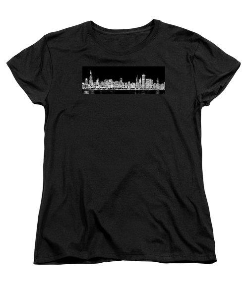 Chicago Skyline Fractal Black And White Women's T-Shirt (Standard Cut) by Adam Romanowicz