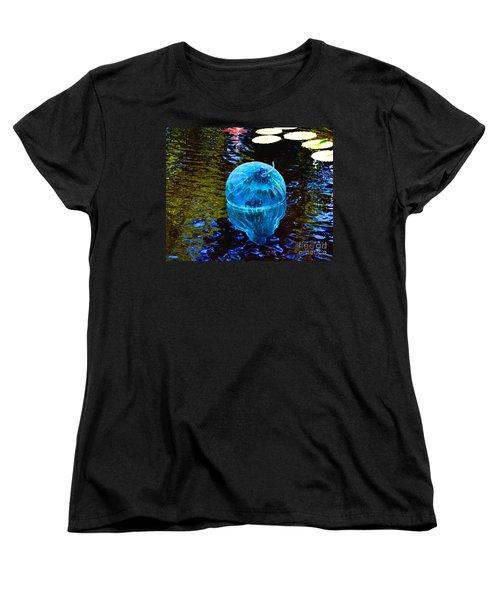 Artsy Blue Glass Float Women's T-Shirt (Standard Cut) by Luther Fine Art