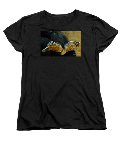Women's T-Shirt (Standard Cut) featuring the photograph Chimpanzee Feet by Clare Bevan