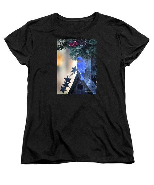 Christmas Bluebird Women's T-Shirt (Standard Cut) by Nava Thompson