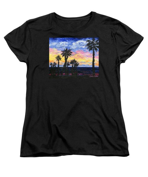Women's T-Shirt (Standard Cut) featuring the painting Christmas Eve In Redondo Beach by Jamie Frier