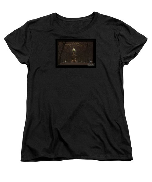 Christmas Greeting Card Notre Dame Golden Dome In Night Sky And Snow Women's T-Shirt (Standard Cut) by John Stephens