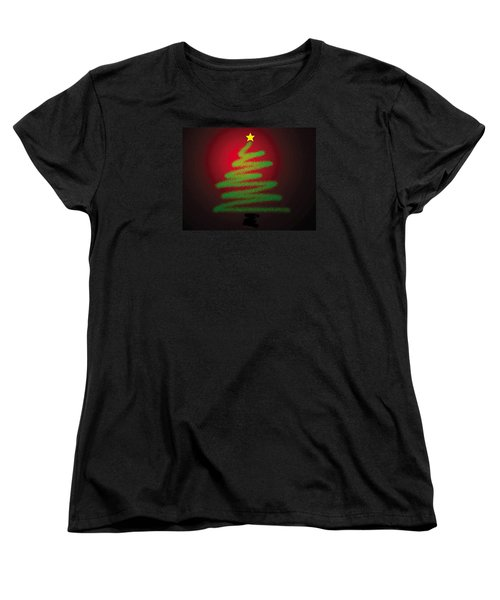 Christmas Tree With Star Women's T-Shirt (Standard Cut) by Genevieve Esson