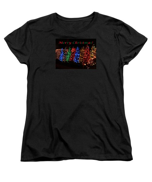 Women's T-Shirt (Standard Cut) featuring the photograph Christmas Trees Dancing In The Night by Emmy Marie Vickers