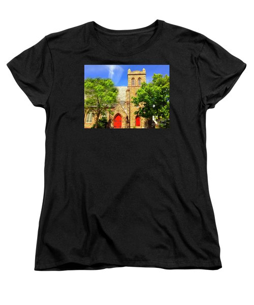 Women's T-Shirt (Standard Cut) featuring the photograph Church And Red Doors by Becky Lupe