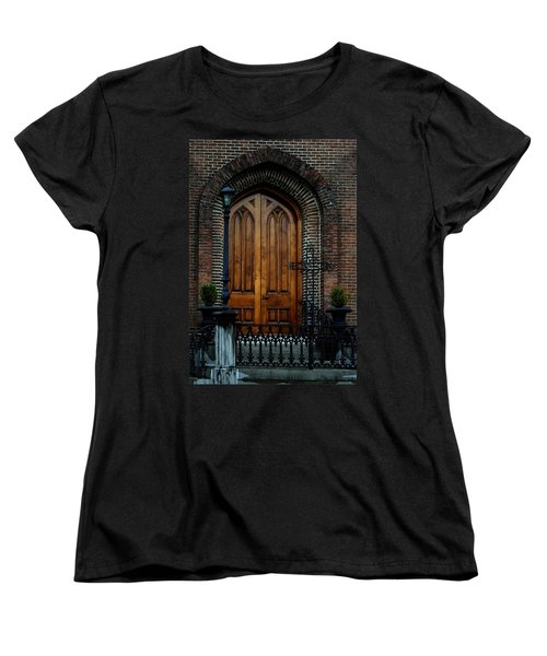 Church Arch And Wooden Door Architecture Women's T-Shirt (Standard Cut) by Lesa Fine