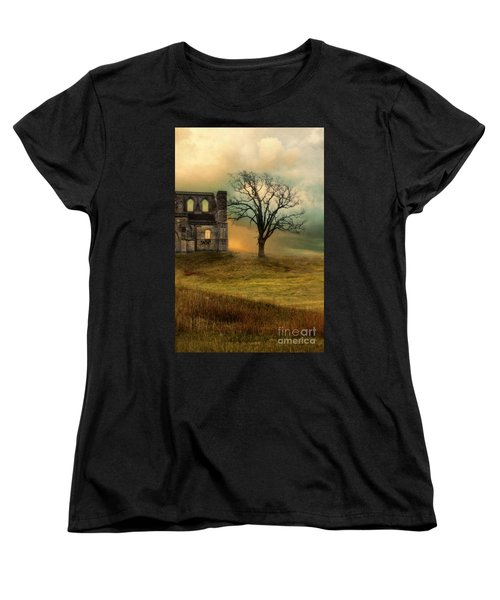 Church Ruin With Stormy Skies Women's T-Shirt (Standard Cut) by Jill Battaglia