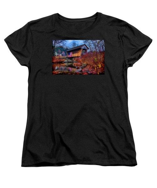 Cilleyville Covered Bridge Women's T-Shirt (Standard Cut) by Jeff Folger