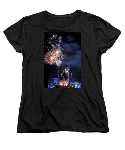 Cinderella Castle Fireworks Iconic Fairy-tale Fortress Fantasyland Women's T-Shirt (Standard Cut) by David Zanzinger