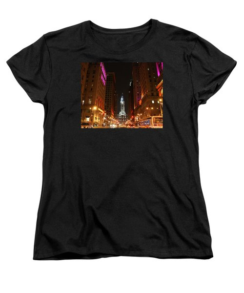 Philadelphia City Lights Women's T-Shirt (Standard Cut) by Christopher Woods