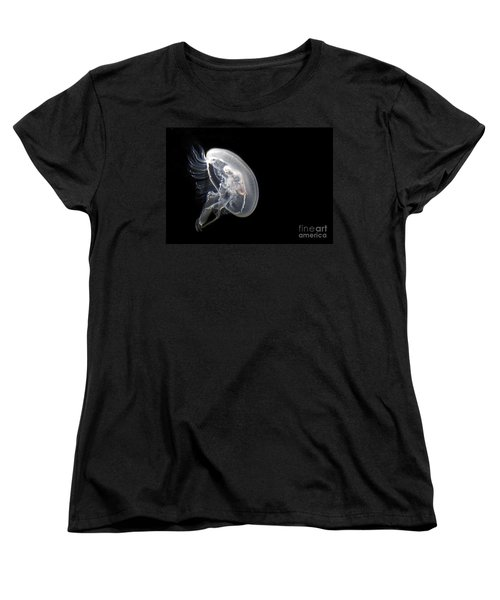 Clear Jelly Fish In Dark Water Art Prints Women's T-Shirt (Standard Cut) by Valerie Garner