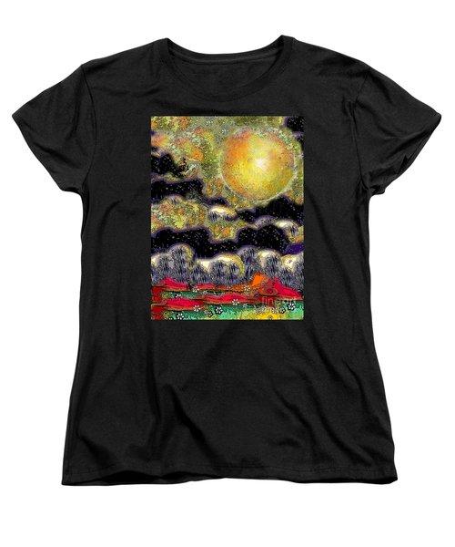 Clonescape Moon Women's T-Shirt (Standard Cut) by Carol Jacobs