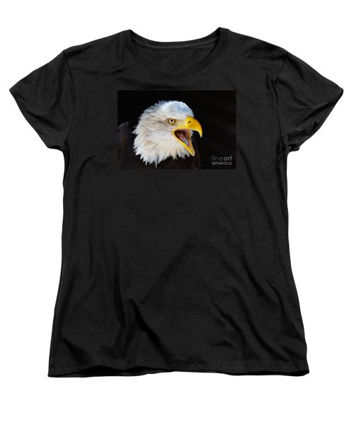 Closeup Portrait Of A Screaming American Bald Eagle Women's T-Shirt (Standard Cut) by Nick  Biemans