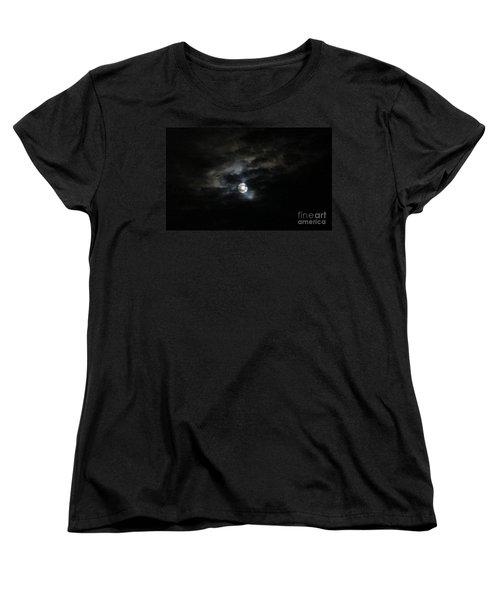 Night Time Cloudy Dark Moon Women's T-Shirt (Standard Cut) by Barbara Yearty
