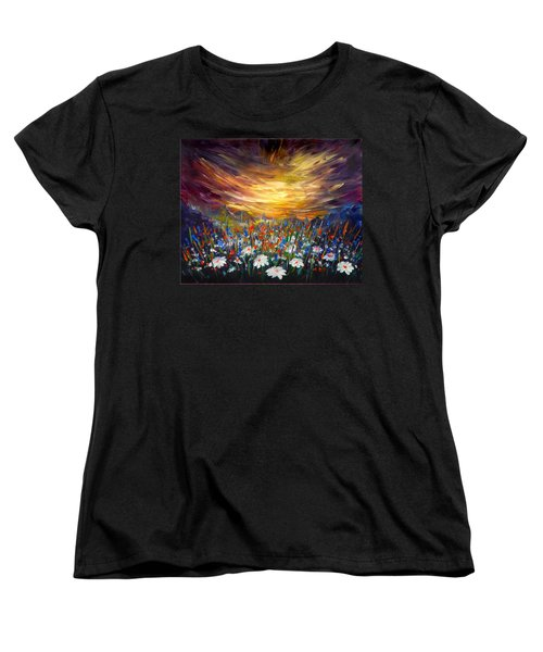 Women's T-Shirt (Standard Cut) featuring the painting Cloudy Sunset In Valley by Lilia D